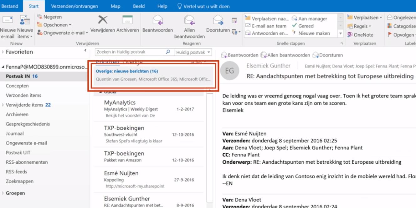 Maak je mailbox slimmer: Outlook–Prioriteiten en overige